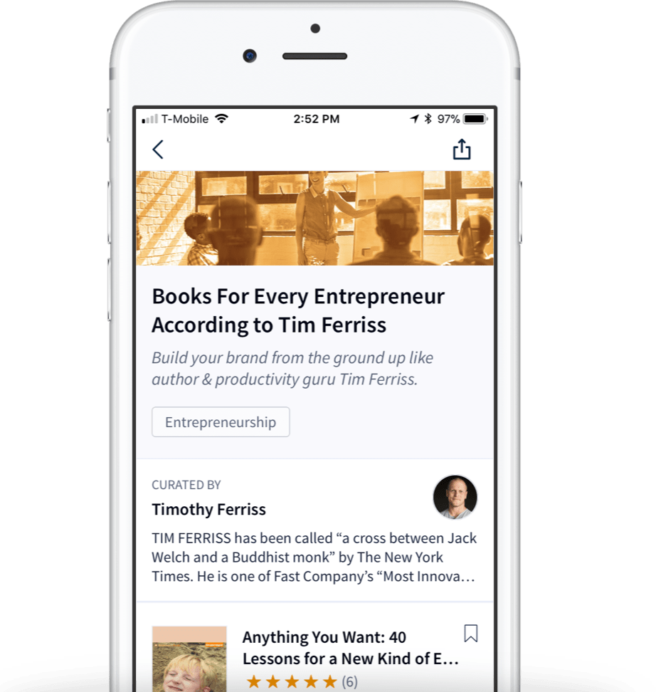 Curated reading lists on a mobile device